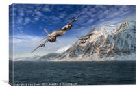 RAF Mosquitos in Norway fjord attack, Canvas Print