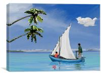Boat in calm waters, Canvas Print
