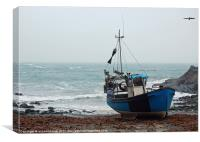 blue fishing boat, Canvas Print