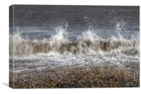 Abstract waves at Cley beach, Canvas Print