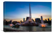 Fountain at Sunset, Canvas Print