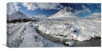 The road to Glen Etive in Winter - Panorama, Canvas Print