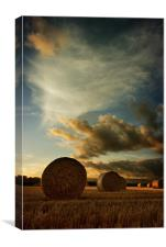Straw Bales Sunset, Canvas Print