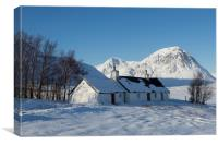 Blackrock Cottage and the Buachaille Etive Mountai, Canvas Print