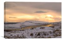 Snow Covered Trotternish Ridge Toward Sundown, Canvas Print