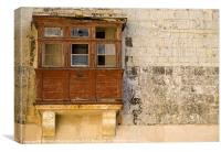 Derelict Maltese Balcony, Canvas Print