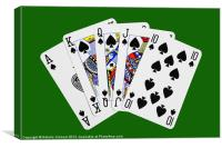 Playing Cards, Royal Flush on Green Background, Canvas Print