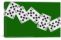 Playing Cards, Ten of Spades on Green Background, Canvas Print