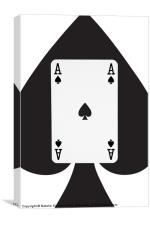 Playing Cards, Ace of Spades on White, Canvas Print