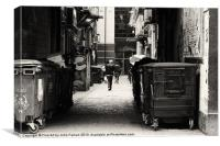 Alleyway Black and white, Canvas Print