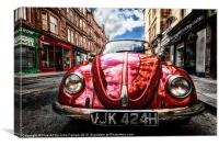 Vintage Beetle on the street, Canvas Print