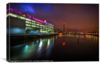 Glasgow BBC Scotland Pacific Quay at night, Canvas Print
