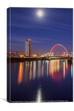 The Clyde Arc under a moonlit sky, Canvas Print