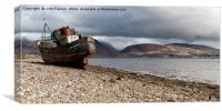 Beached boat at Corpach on shore of Loch Linnhe, Canvas Print