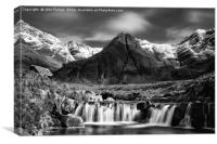 The Fairy Pools black and white , Canvas Print