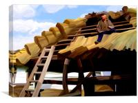 Thatching the Wellhouse, Canvas Print