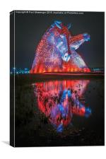 Red Kelpie Night Time, Canvas Print