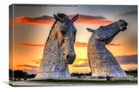 Kelpies at Sunset, Canvas Print