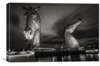 Kelpies at Night in B&W, Canvas Print