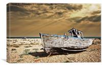 dungeness wreck in colour, Canvas Print