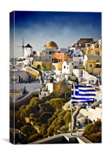 Oia and a greek flag, Canvas Print