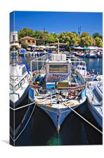 greek fishing boat for sale, Canvas Print