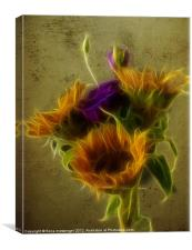 Three Sunflowers and a Lisianthus, Canvas Print