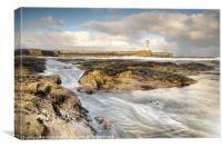 Amble Pier Rocks, Canvas Print
