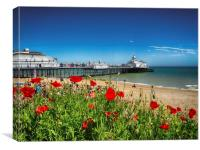 Eastbourne Pier and poppies, Canvas Print