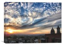 roof top sunset, Canvas Print