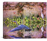 the herons are returning to my mexican garden, Canvas Print