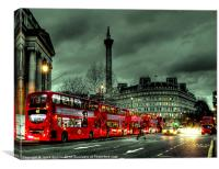 Red buses and Routemaster, Canvas Print
