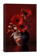 GERBERAS IN A RAKU POT, Canvas Print