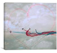 Red Arrows love Heart, Canvas Print