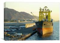 Vessel lies at dock waiting to be unloaded. The ea, Canvas Print