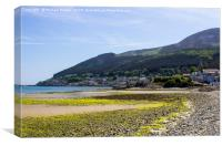 Dundrum Bay and Newcastle Town from the beach, Canvas Print