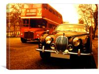 Jaguar and bus, Canvas Print