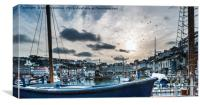 The Sun going down at Brixham Harbour, Canvas Print