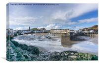 A View of Ilfracombe Harbour at Low Tide, Canvas Print