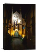 Cheap Street Church Sherborne at Night, Canvas Print