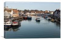 Weymouth Harbour Dorset close to Sunset in Winter, Canvas Print
