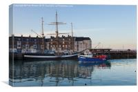 The Pelican in Weymouth Harbour Winter 2015, Canvas Print