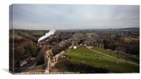 View from Corfe Castle as Train goes by, Canvas Print