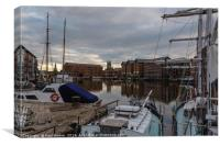 Gloucester Docks with Gloucester Cathedral, Canvas Print