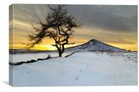 Winter Sunset Roseberry Topping Teesside, Canvas Print