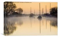 Misty Morning Moorings, Canvas Print