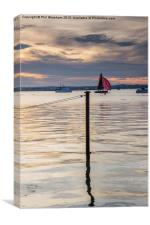 Red sail at sunset, Canvas Print