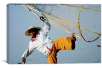 Burmese Fisherman, Canvas Print