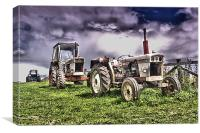 Three Tractors, Canvas Print