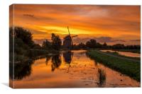 Windmill at the warm and red color sunrise in Haze, Canvas Print